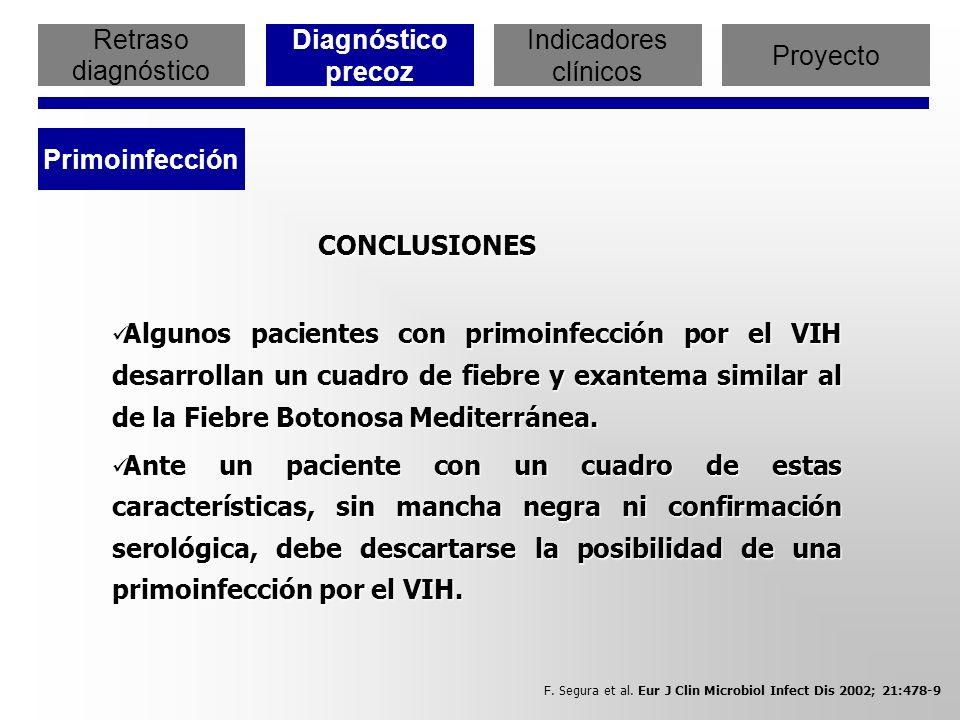 Retraso diagnóstico Diagnóstico precoz Indicadores clínicos Proyecto Primoinfección CONCLUSIONES CONCLUSIONES Algunos pacientes con primoinfección por