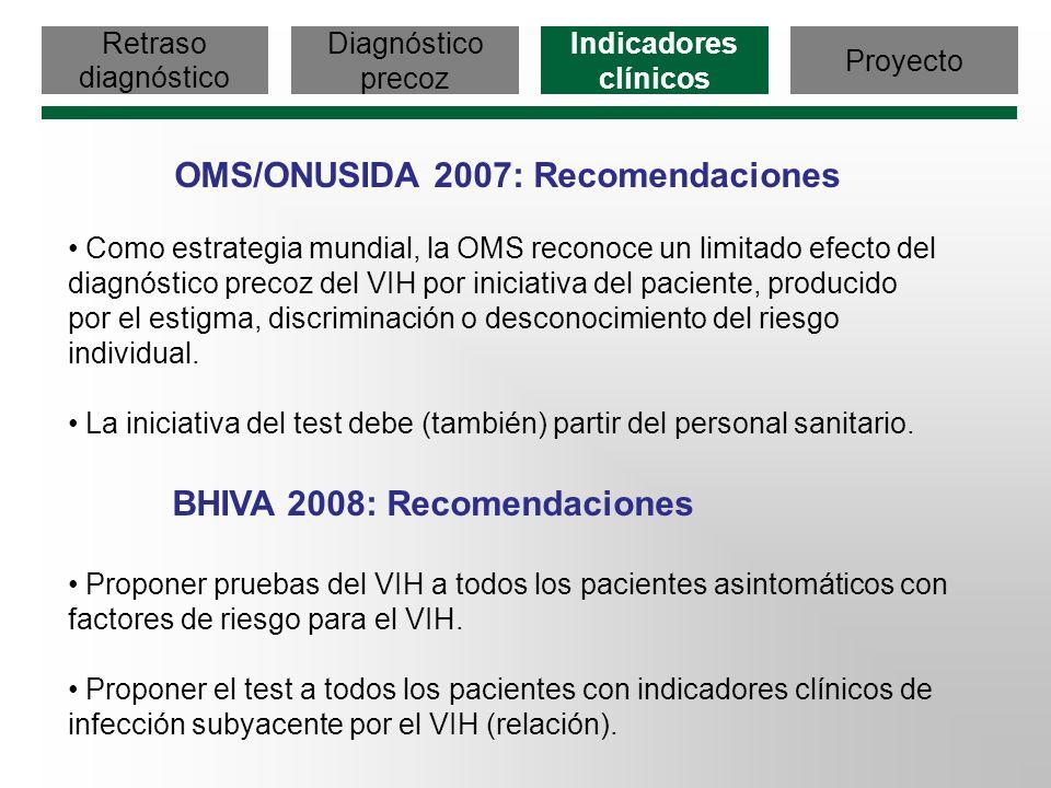 Retraso diagnóstico Diagnóstico precoz Indicadores clínicos Proyecto OMS/ONUSIDA 2007: Recomendaciones Como estrategia mundial, la OMS reconoce un lim