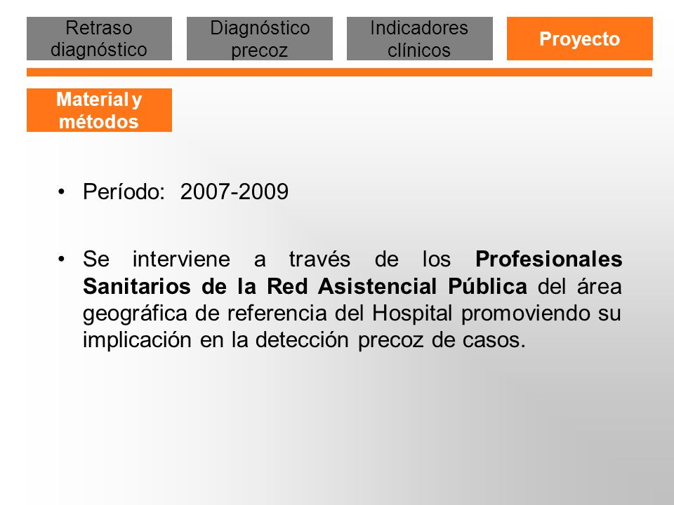 RED SANITARIA PUBLICA AREA HOSPITAL DE SABADELL CENTROS DE ATENCIÓN PRIMARIA - Área Sabadell (18 CAPs) - Área Cerdanyola (7 CAPs) Especialidades Hospital Urgencias AP (6) Especialidades ambulatorias PASSIRs (2) CASD (3) - Sabadell - Cerdanyola-Ripollet - Badia del Vallès Otros recursos - ONGs - SSAP - SMS Urgencias Hospital 38 Centros Sanitarios Diferente titularidad Diferentes prestaciones Retraso diagnóstico Diagnóstico precoz Indicadores clínicos Proyecto Material y métodos