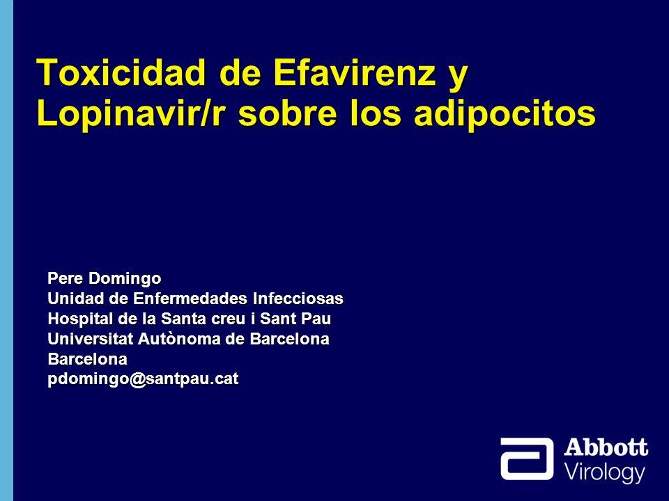 32 EFV LPV/r -5 -10 -15 0 5 10 15 20 48960 Weeks Cambio % de la mediana desde la basal ACTG 5142 Grasa en las extremidades LPV/r + EFV +18 +9.8 +1.4.013.007 <.001 P Value EFV188171 LPV/r191166 LPV/r + EFV197173 ACTG 5142: Efecto diferente de LPV/r y EFV sobre la grasa periférica: LPV/r < EFV Haubrich R et al.