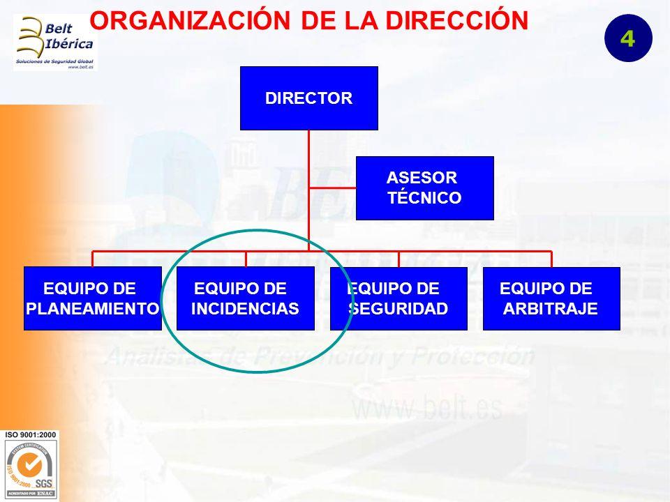 ORGANIZACIÓN DE LA DIRECCIÓN DIRECTOR EQUIPO DE PLANEAMIENTO EQUIPO DE INCIDENCIAS EQUIPO DE SEGURIDAD EQUIPO DE ARBITRAJE ASESOR TÉCNICO 4