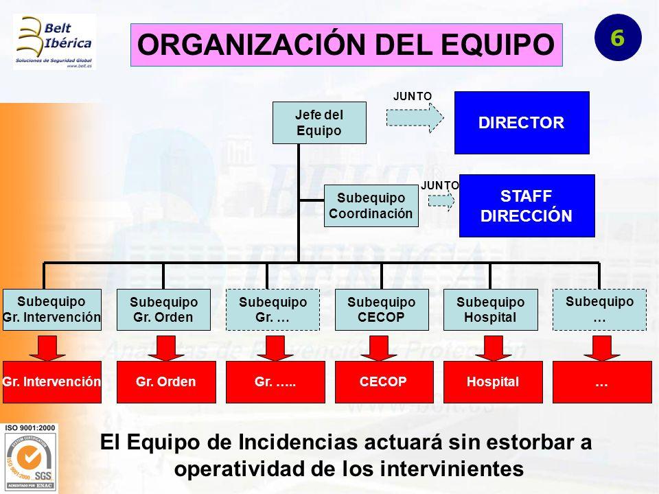 ORGANIZACIÓN DEL EQUIPO Jefe del Equipo DIRECTOR JUNTO Subequipo Coordinación STAFF DIRECCIÓN JUNTO Subequipo Gr.