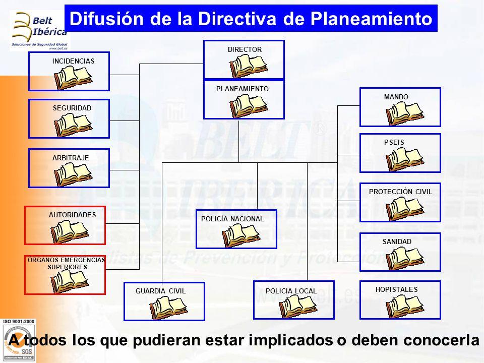 Difusión de la Directiva de Planeamiento DIRECTOR MANDO INCIDENCIAS SEGURIDAD PLANEAMIENTO ARBITRAJE AUTORIDADES ÓRGANOS EMERGENCIAS SUPERIORES PSEIS