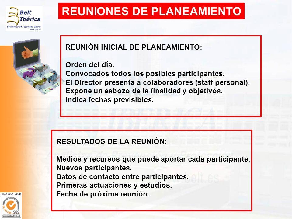 REUNIONES DE PLANEAMIENTO REUNIÓN INICIAL DE PLANEAMIENTO: Orden del día. Convocados todos los posibles participantes. El Director presenta a colabora