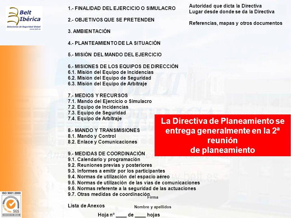 Hoja nº ____ de ____ hojas Autoridad que dicta la Directiva Lugar desde donde se da la Directiva Referencias, mapas y otros documentos 1.- FINALIDAD D
