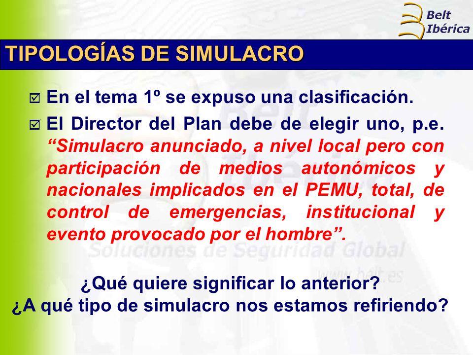 TIPOLOGÍAS DE SIMULACRO En el tema 1º se expuso una clasificación. El Director del Plan debe de elegir uno, p.e. Simulacro anunciado, a nivel local pe