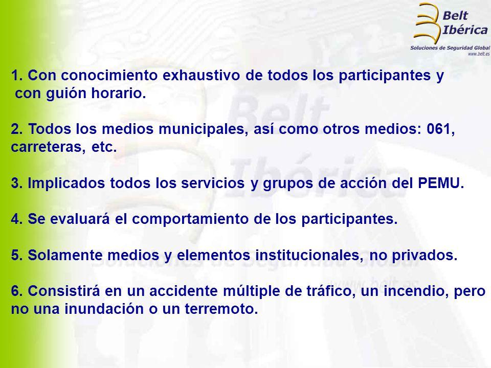 1. Con conocimiento exhaustivo de todos los participantes y con guión horario. 2. Todos los medios municipales, así como otros medios: 061, carreteras