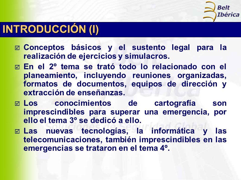 INTRODUCCIÓN (I) Conceptos básicos y el sustento legal para la realización de ejercicios y simulacros. En el 2º tema se trató todo lo relacionado con