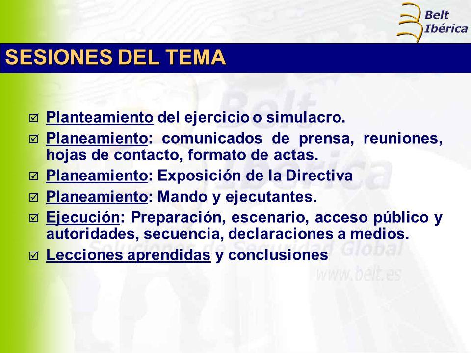SESIONES DEL TEMA Planteamiento del ejercicio o simulacro. Planeamiento: comunicados de prensa, reuniones, hojas de contacto, formato de actas. Planea