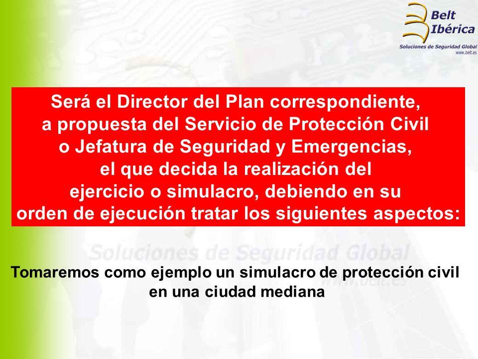 Será el Director del Plan correspondiente, a propuesta del Servicio de Protección Civil o Jefatura de Seguridad y Emergencias, el que decida la realiz