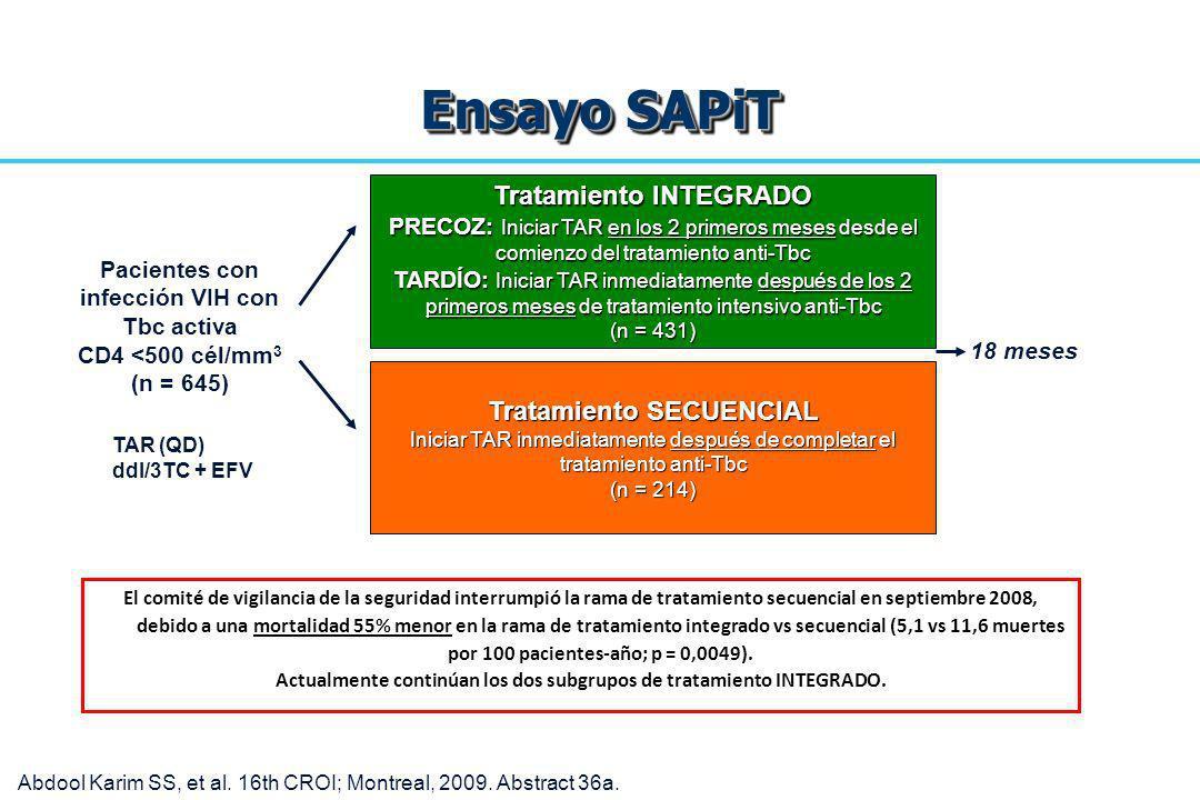 Ensayo SAPiT El comité de vigilancia de la seguridad interrumpió la rama de tratamiento secuencial en septiembre 2008, debido a una mortalidad 55% men