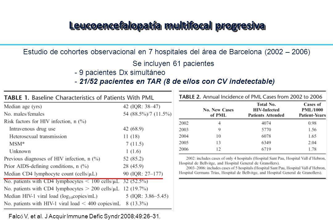Estudio de cohortes observacional en 7 hospitales del área de Barcelona (2002 – 2006) Se incluyen 61 pacientes - 9 pacientes Dx simultáneo - 21/52 pac