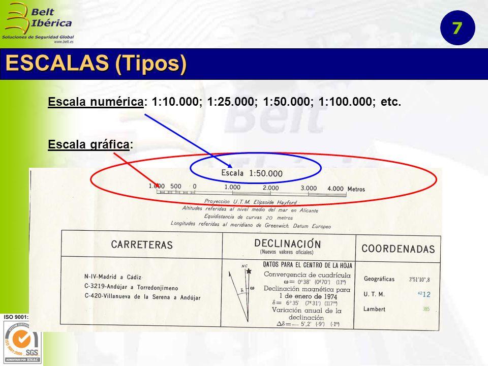 Escala numérica: 1:10.000; 1:25.000; 1:50.000; 1:100.000; etc. Escala gráfica: ESCALAS (Tipos) 7
