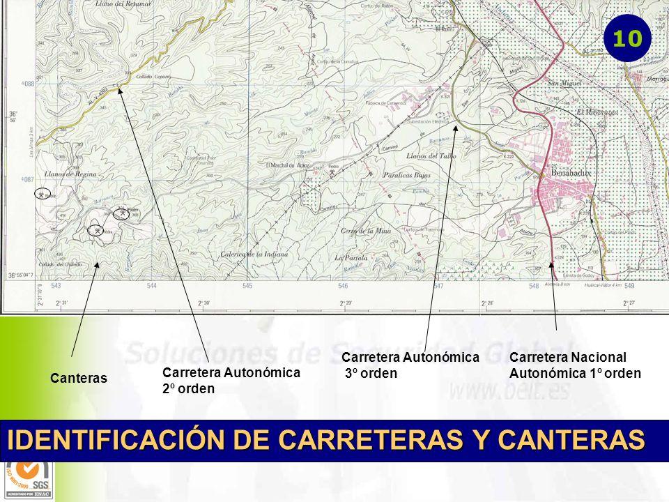 Canteras Carretera Nacional Autonómica 1º orden Carretera Autonómica 2º orden Carretera Autonómica 3º orden IDENTIFICACIÓN DE CARRETERAS Y CANTERAS 10