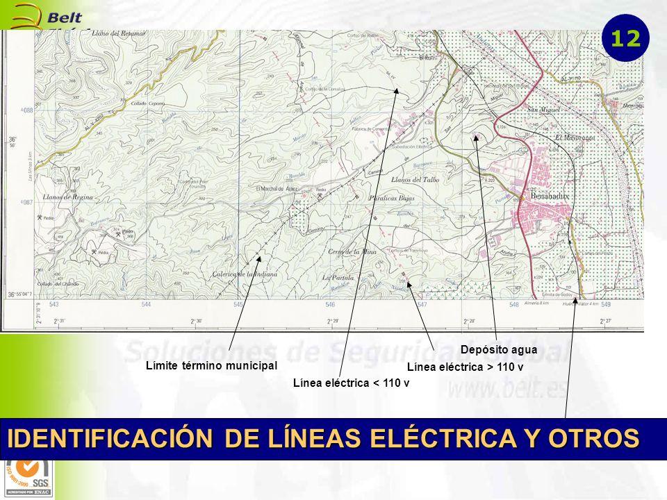 Línea eléctrica > 110 v Límite término municipal Edificio religioso Línea eléctrica < 110 v Depósito agua IDENTIFICACIÓN DE LÍNEAS ELÉCTRICA Y OTROS 1