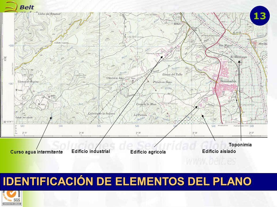 Edificio aislado Edificio agrícola Edificio industrial Curso agua intermitente Toponimia IDENTIFICACIÓN DE ELEMENTOS DEL PLANO 13