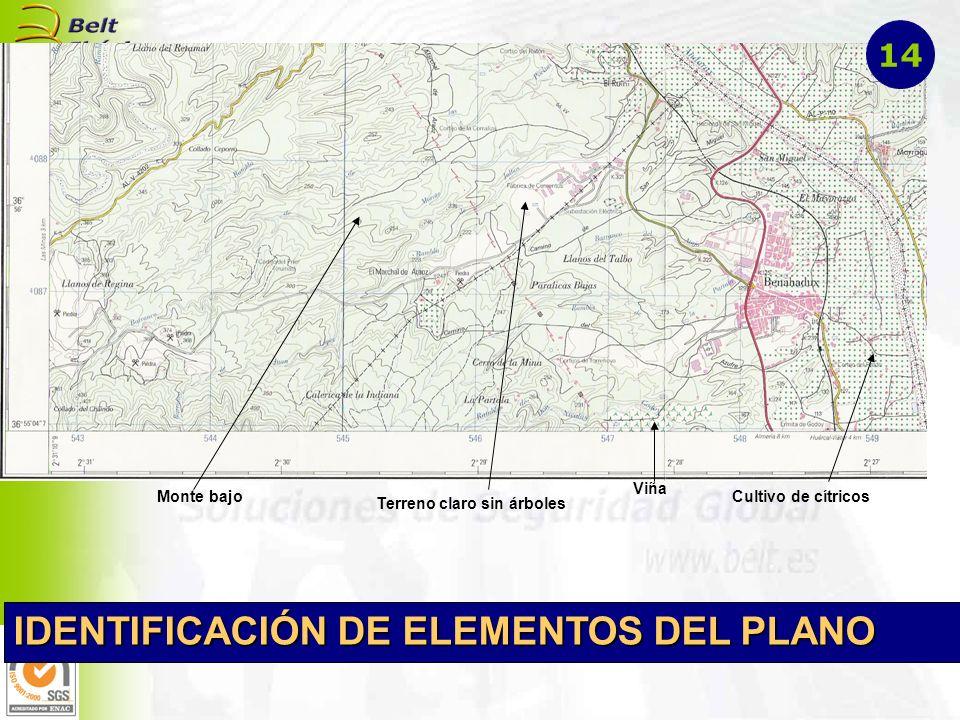 Cultivo de cítricos Viña Monte bajo Terreno claro sin árboles IDENTIFICACIÓN DE ELEMENTOS DEL PLANO 14