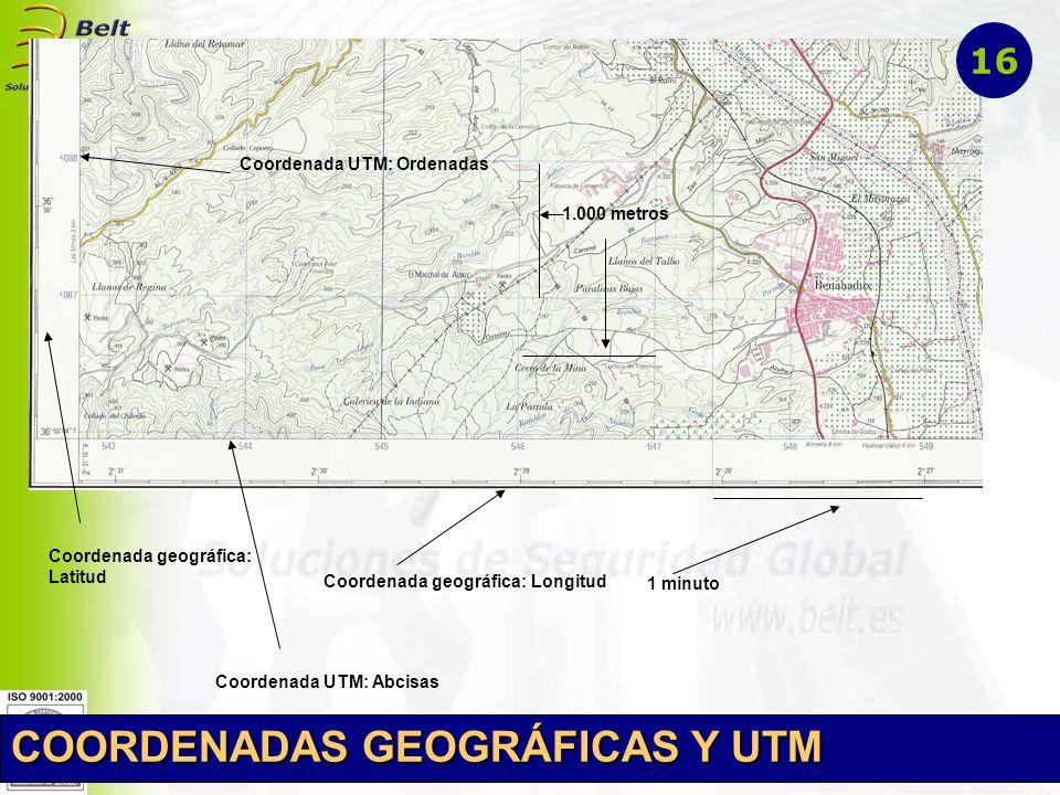 Coordenada geográfica: Longitud 1 minuto Coordenada geográfica: Latitud Coordenada UTM: Abcisas Coordenada UTM: Ordenadas 1.000 metros COORDENADAS GEO