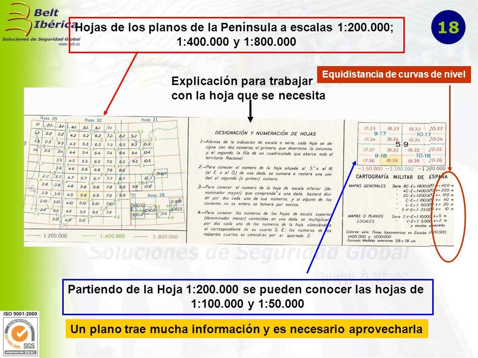 Hojas de los planos de la Península a escalas 1:200.000; 1:400.000 y 1:800.000 Partiendo de la Hoja 1:200.000 se pueden conocer las hojas de 1:100.000