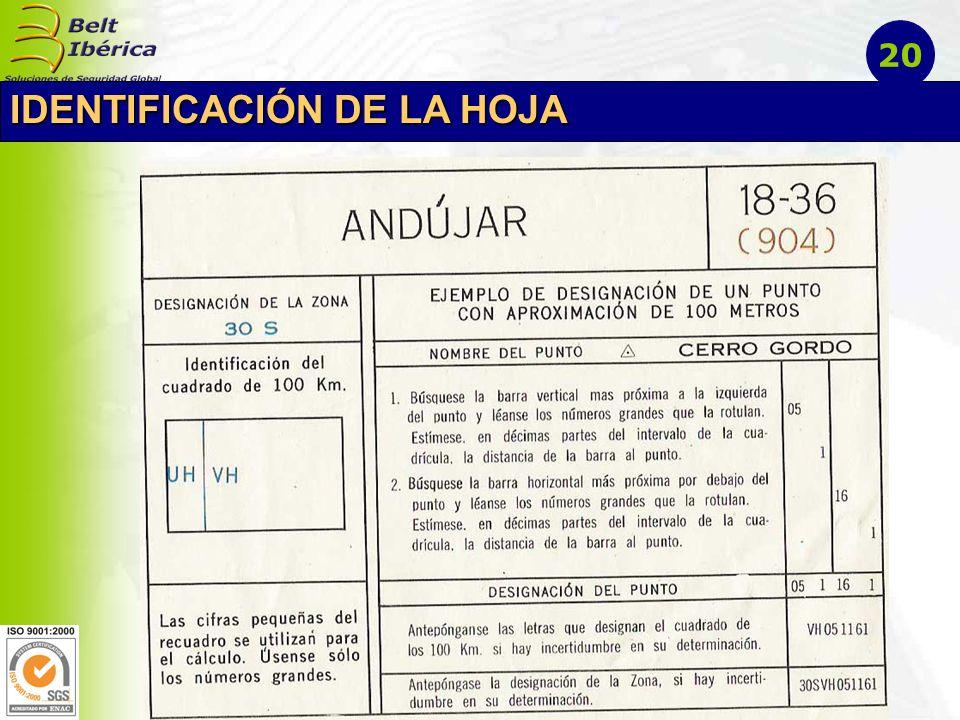 IDENTIFICACIÓN DE LA HOJA 20