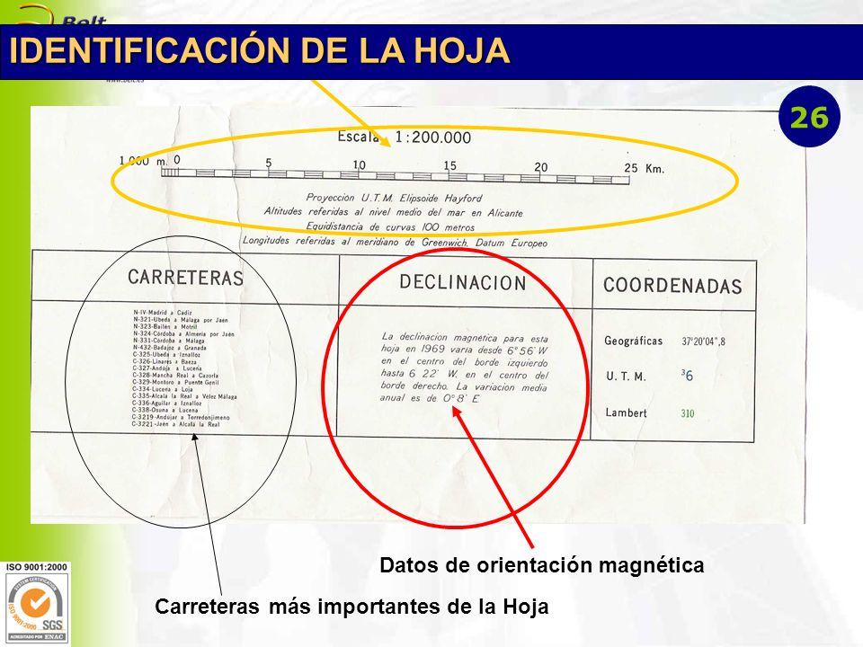 Datos de orientación magnética Carreteras más importantes de la Hoja IDENTIFICACIÓN DE LA HOJA 26