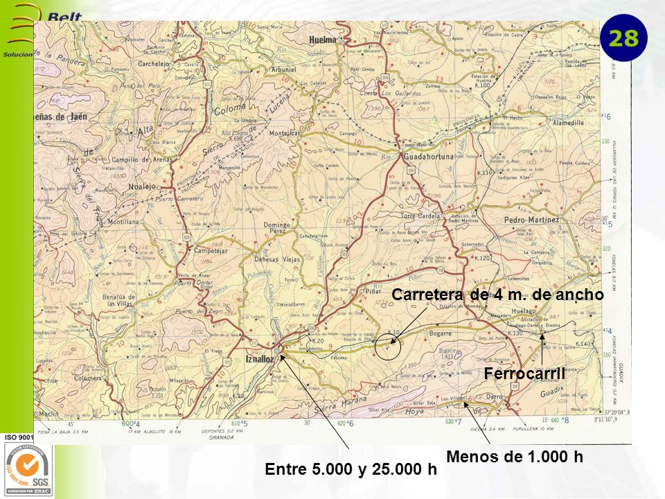 Entre 5.000 y 25.000 h Menos de 1.000 h Carretera de 4 m. de ancho Ferrocarril 28