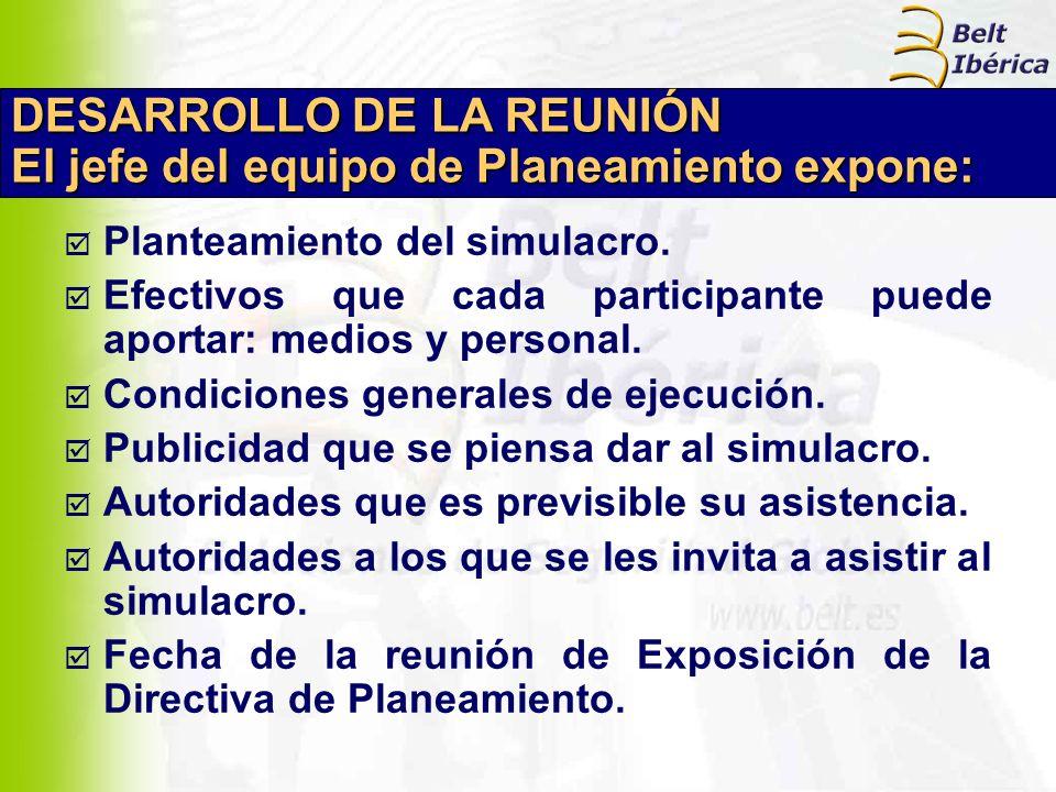 DESARROLLO DE LA REUNIÓN El jefe del equipo de Planeamiento expone: Planteamiento del simulacro. Efectivos que cada participante puede aportar: medios