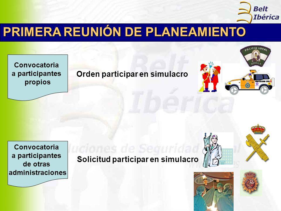 PRIMERA REUNIÓN DE PLANEAMIENTO Convocatoria a participantes propios Convocatoria a participantes de otras administraciones Orden participar en simula