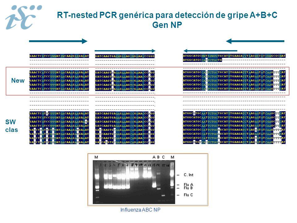 RT-nested PCR genérica para detección de gripe A+B+C Gen NP Influenza ABC NP New SW clas