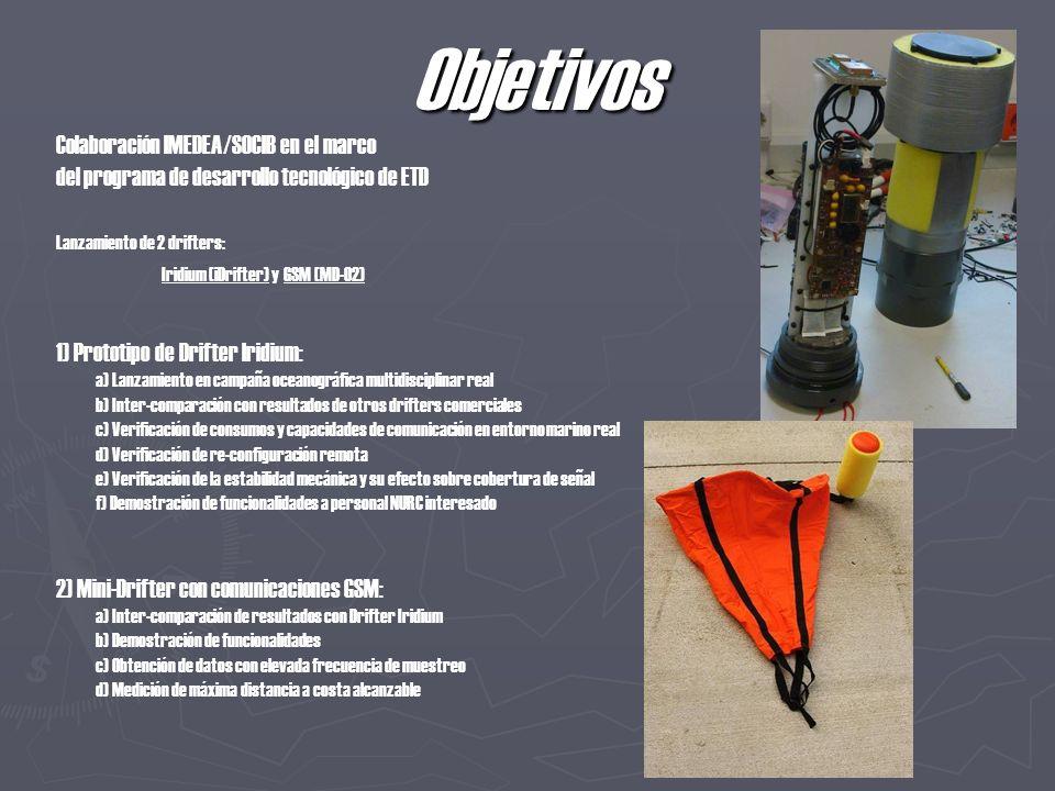 Objetivos Colaboración IMEDEA/SOCIB en el marco del programa de desarrollo tecnológico de ETD Lanzamiento de 2 drifters: Iridium (iDrifter) y GSM (MD-02) 1) Prototipo de Drifter Iridium: a) Lanzamiento en campaña oceanográfica multidisciplinar real b) Inter-comparación con resultados de otros drifters comerciales c) Verificación de consumos y capacidades de comunicación en entorno marino real d) Verificación de re-configuración remota e) Verificación de la estabilidad mecánica y su efecto sobre cobertura de señal f) Demostración de funcionalidades a personal NURC interesado 2) Mini-Drifter con comunicaciones GSM: a) Inter-comparación de resultados con Drifter Iridium b) Demostración de funcionalidades c) Obtención de datos con elevada frecuencia de muestreo d) Medición de máxima distancia a costa alcanzable
