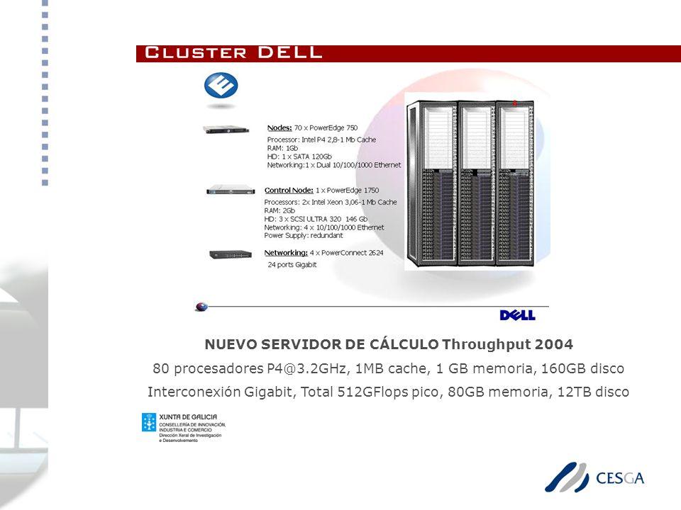 Cluster DELL NUEVO SERVIDOR DE CÁLCULO Throughput 2004 80 procesadores P4@3.2GHz, 1MB cache, 1 GB memoria, 160GB disco Interconexión Gigabit, Total 512GFlops pico, 80GB memoria, 12TB disco