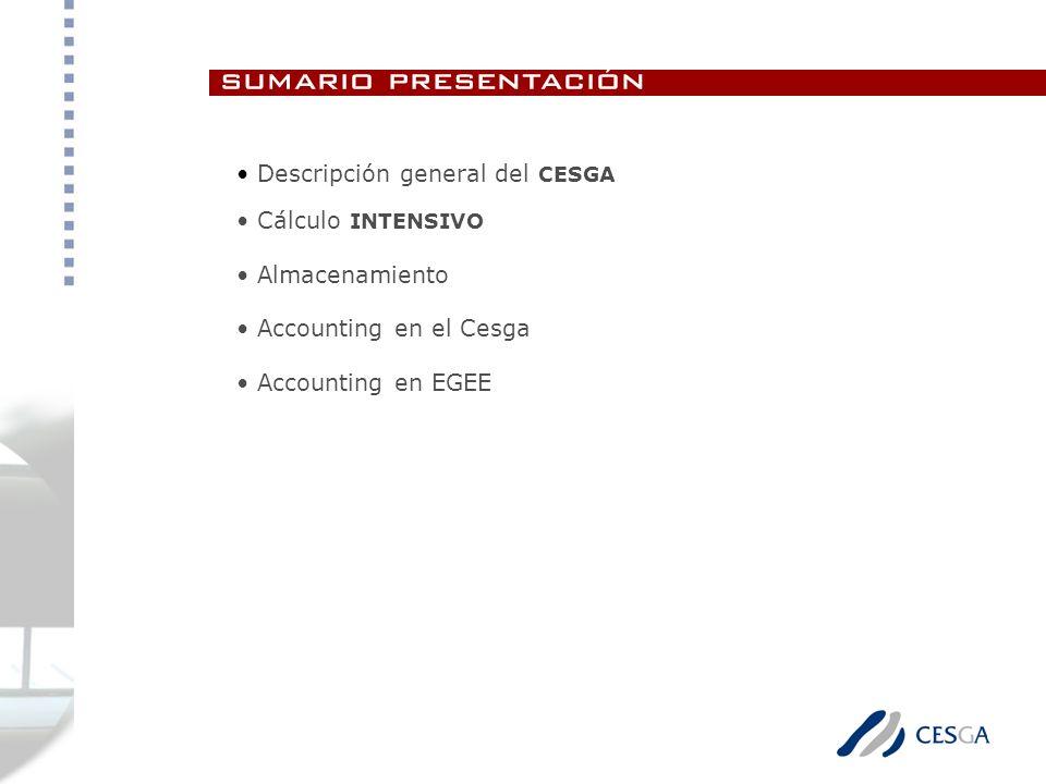 sumario presentación Descripción general del CESGA Cálculo INTENSIVO Almacenamiento Accounting en el Cesga Accounting en EGEE