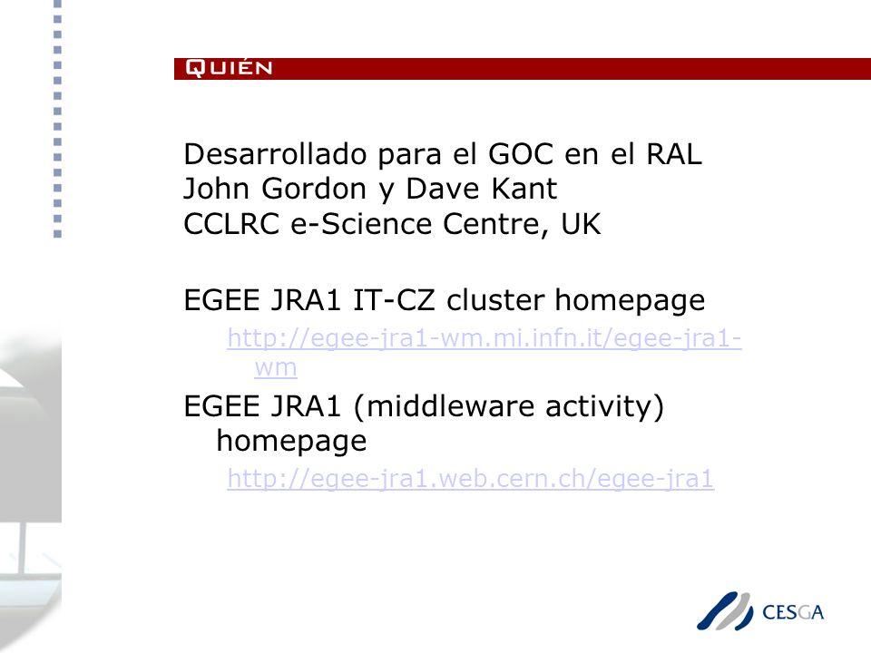 Desarrollado para el GOC en el RAL John Gordon y Dave Kant CCLRC e-Science Centre, UK EGEE JRA1 IT-CZ cluster homepage http://egee-jra1-wm.mi.infn.it/egee-jra1- wm EGEE JRA1 (middleware activity) homepage http://egee-jra1.web.cern.ch/egee-jra1 Quién