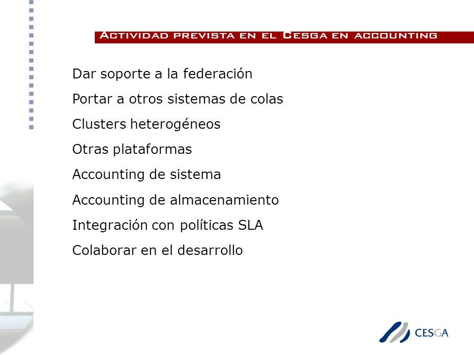 Dar soporte a la federación Portar a otros sistemas de colas Clusters heterogéneos Otras plataformas Accounting de sistema Accounting de almacenamiento Integración con políticas SLA Colaborar en el desarrollo Actividad prevista en el Cesga en accounting