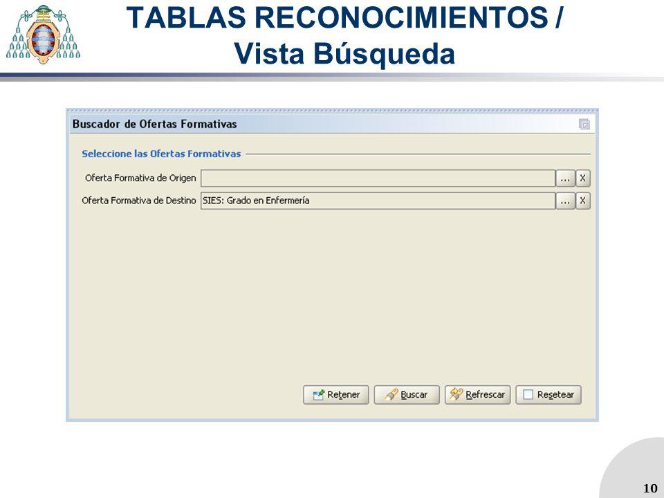 TABLAS RECONOCIMIENTOS / Vista Búsqueda 10