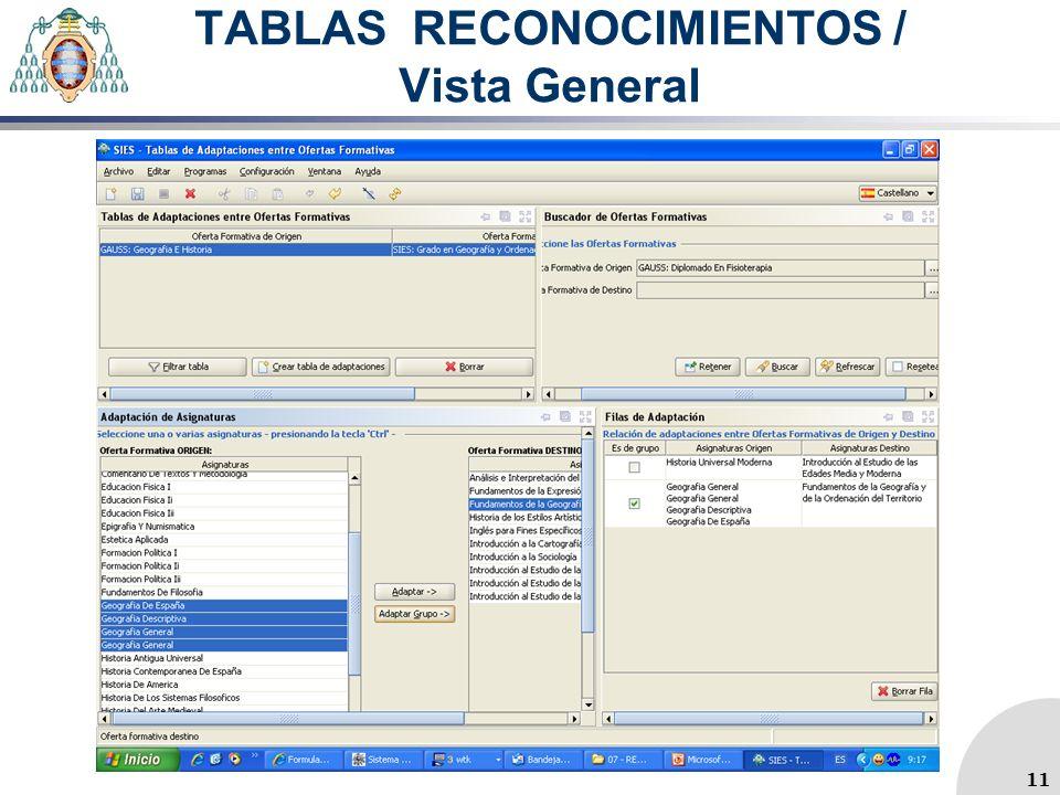 TABLAS RECONOCIMIENTOS / Vista General 11