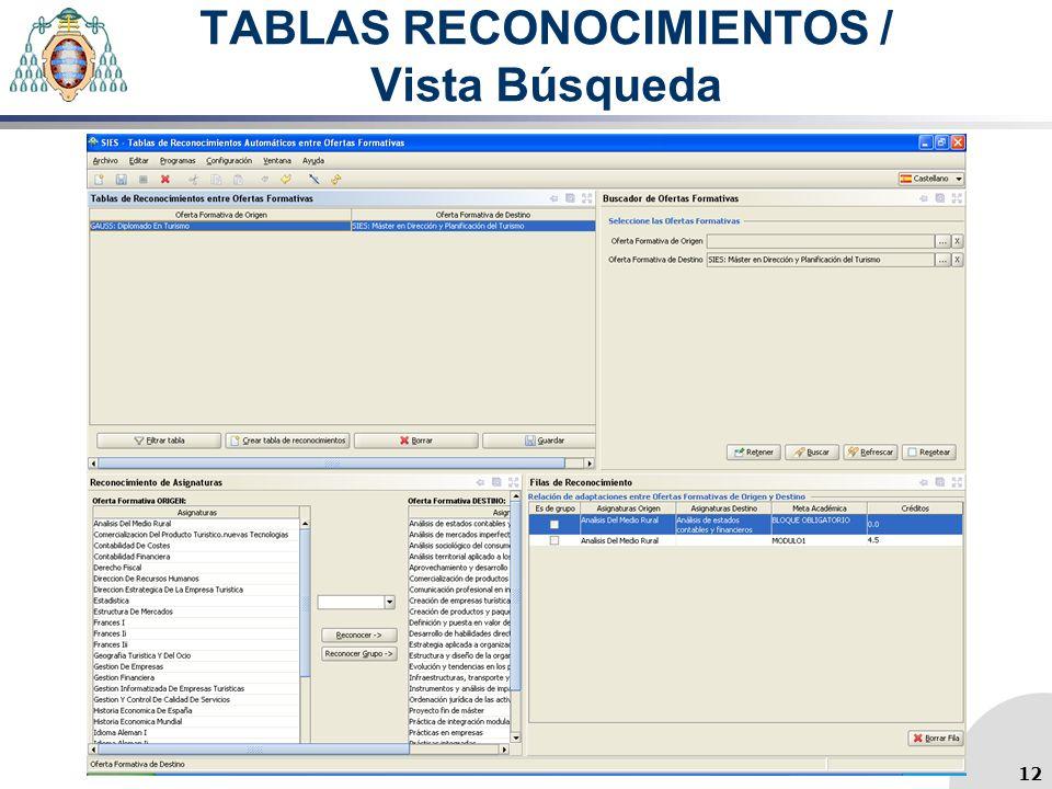 TABLAS RECONOCIMIENTOS / Vista Búsqueda 12
