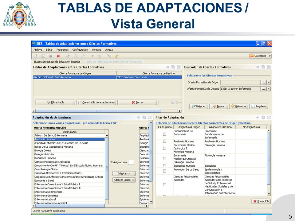 TABLAS DE ADAPTACIONES / Vista General 5