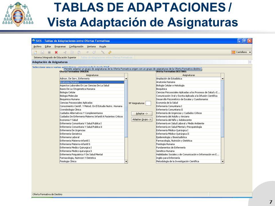 TABLAS DE ADAPTACIONES / Vista Adaptación de Asignaturas 7