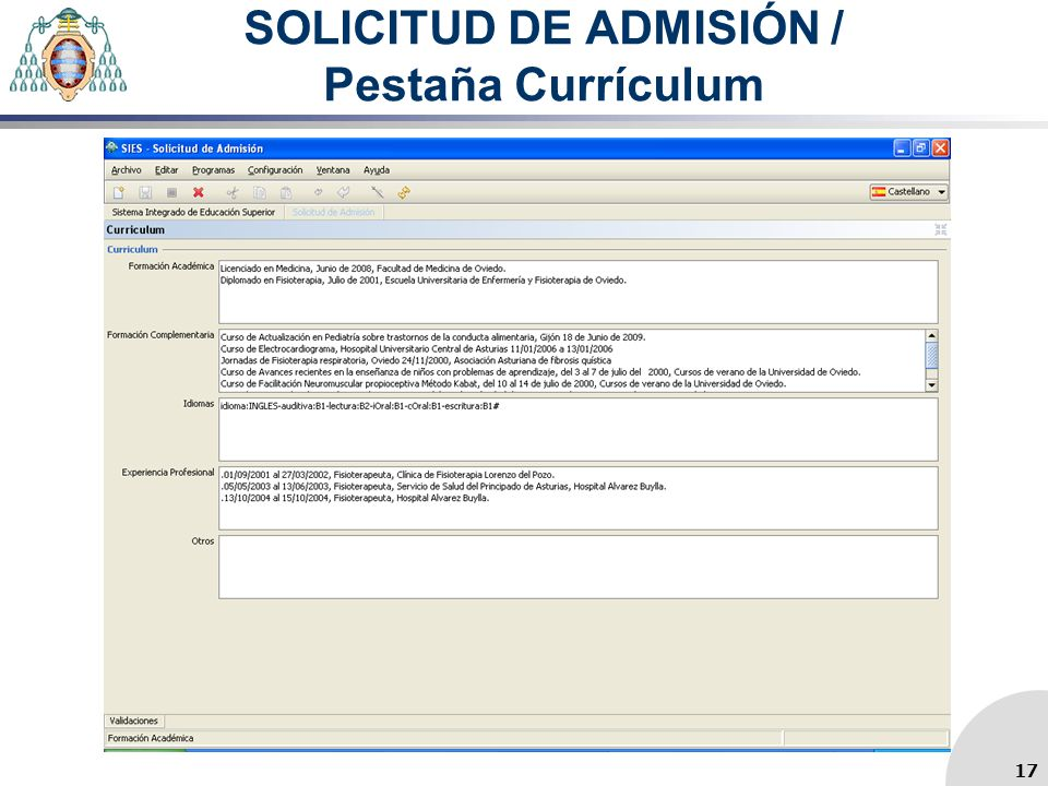SOLICITUD DE ADMISIÓN / Pestaña Currículum 17