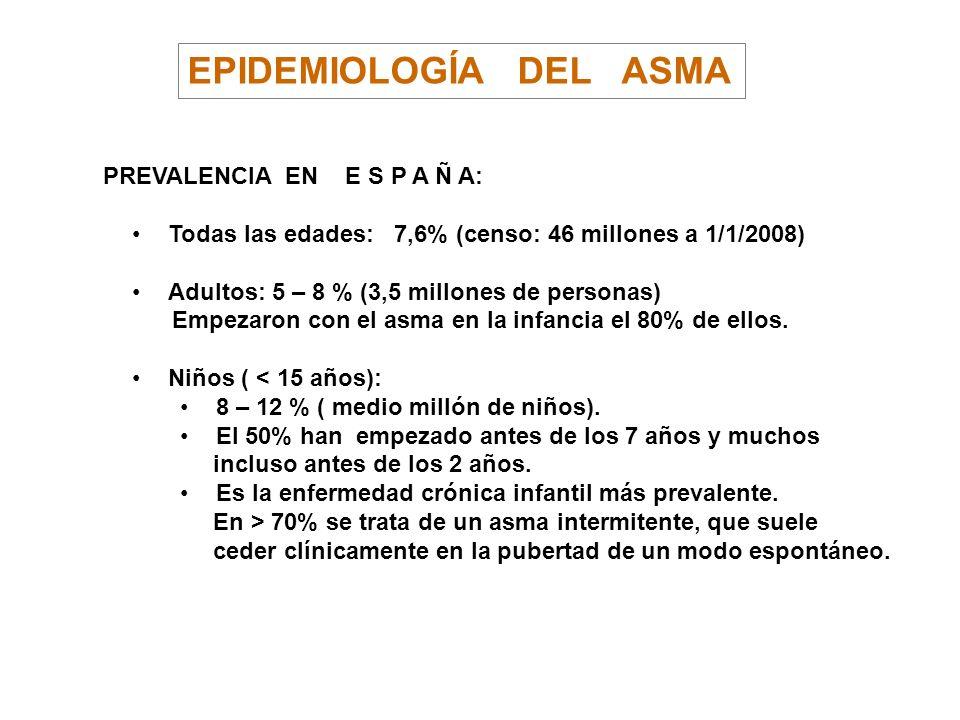 EPIDEMIOLOGÍA DEL ASMA PREVALENCIA EN E S P A Ñ A: Todas las edades: 7,6% (censo: 46 millones a 1/1/2008) Adultos: 5 – 8 % (3,5 millones de personas)