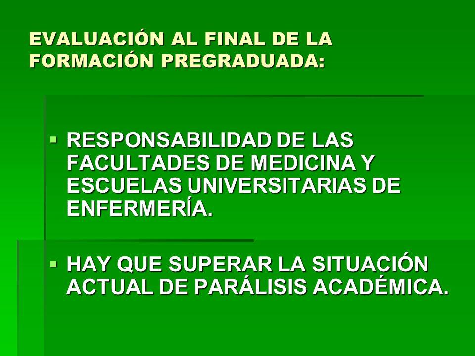 EVALUACIÓN AL FINAL DE LA FORMACIÓN PREGRADUADA: RESPONSABILIDAD DE LAS FACULTADES DE MEDICINA Y ESCUELAS UNIVERSITARIAS DE ENFERMERÍA. RESPONSABILIDA