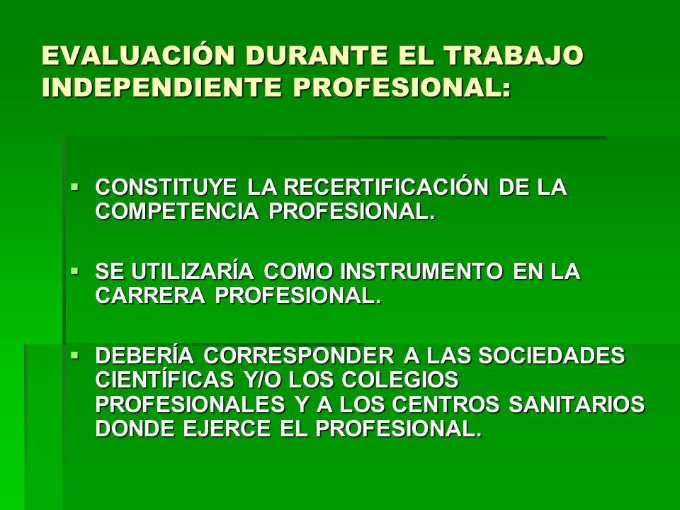 EVALUACIÓN DURANTE EL TRABAJO INDEPENDIENTE PROFESIONAL: CONSTITUYE LA RECERTIFICACIÓN DE LA COMPETENCIA PROFESIONAL. CONSTITUYE LA RECERTIFICACIÓN DE