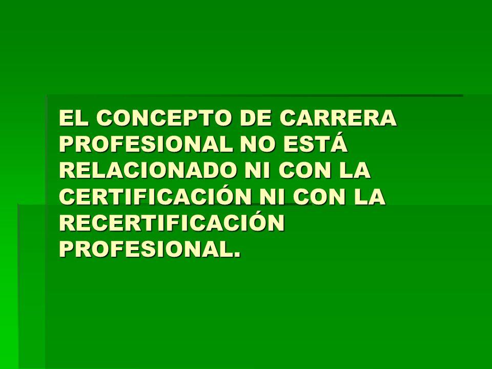 EL CONCEPTO DE CARRERA PROFESIONAL NO ESTÁ RELACIONADO NI CON LA CERTIFICACIÓN NI CON LA RECERTIFICACIÓN PROFESIONAL.