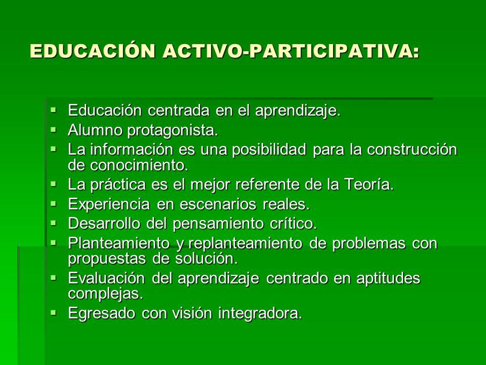 EDUCACIÓN ACTIVO-PARTICIPATIVA: Educación centrada en el aprendizaje. Educación centrada en el aprendizaje. Alumno protagonista. Alumno protagonista.