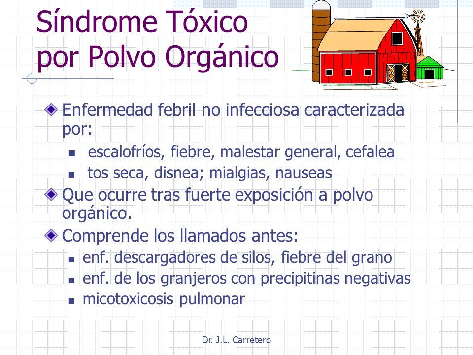 Dr. J.L. Carretero Síndrome Tóxico por Polvo Orgánico Enfermedad febril no infecciosa caracterizada por: escalofríos, fiebre, malestar general, cefale