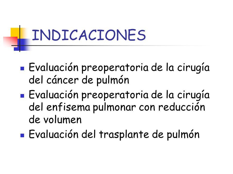 INDICACIONES Evaluación preoperatoria de la cirugía del cáncer de pulmón Evaluación preoperatoria de la cirugía del enfisema pulmonar con reducción de