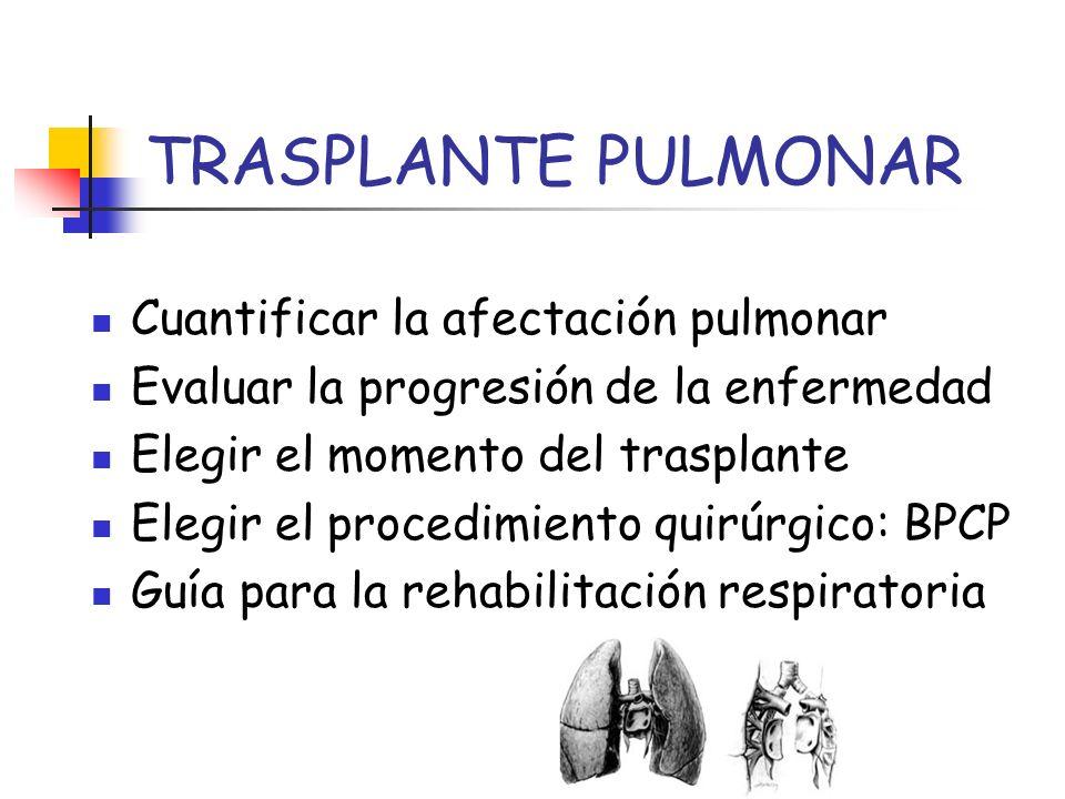 TRASPLANTE PULMONAR Cuantificar la afectación pulmonar Evaluar la progresión de la enfermedad Elegir el momento del trasplante Elegir el procedimiento