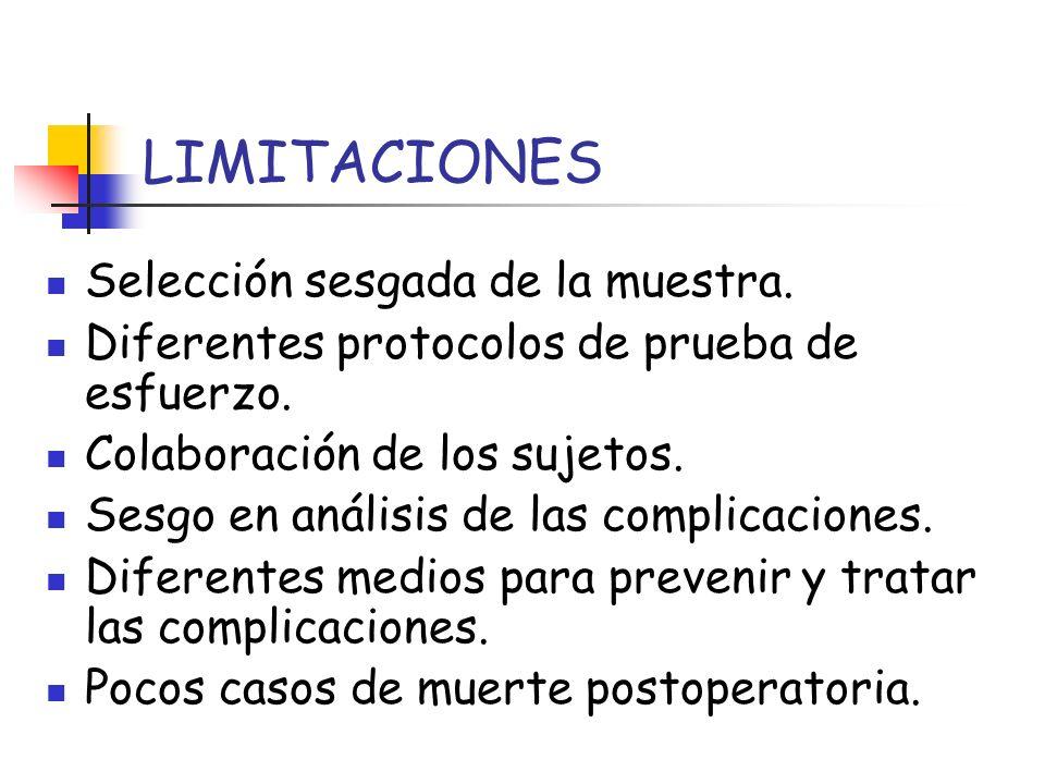 LIMITACIONES Selección sesgada de la muestra. Diferentes protocolos de prueba de esfuerzo. Colaboración de los sujetos. Sesgo en análisis de las compl