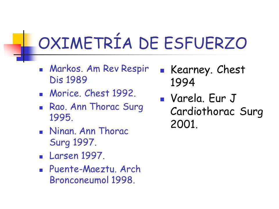 OXIMETRÍA DE ESFUERZO Markos. Am Rev Respir Dis 1989. Morice. Chest 1992. Rao. Ann Thorac Surg 1995. Ninan. Ann Thorac Surg 1997. Larsen 1997. Puente-